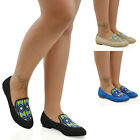 NEW WOMENS FLAT SLIP ON PUMPS AZTEC EMBROIDERED BEADED LADIES LOAFERS SHOES