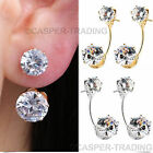 Silver Crystal Cubic Round Stud Earrings Rhinestone Hook Ear Stud Hoop Gifts Uk