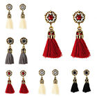 1 Pair Fashion Women Vintage Crystal Tassel Dangle Ear Stud Earrings Jewelry