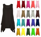 Women Ladies Asymmetric Ruched Gathered Hanky Hem Flared Long Tunic Vest Top