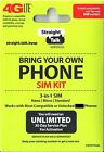 Straight Talk SIM Card  AT&amp;T, Verizon, T-Mobile  Activation 4G LTE SIM Card kit <br/> AT&amp;T Verizon T-Mobile  Triple Cut Sim Card &amp; Sim Tool