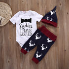 Newborn Toddler Baby Girls Boy Playsuit Bodysuit Romper+Pants Outfit Set Clothes