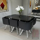 Glass Dining Table With 4/6 Chairs Set Round Tempered Glass Space Saver Black