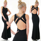 Long Maxi Evening Wedding Cut Out Open Back Formal Party Prom Dress UK 8 10 12