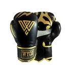 WYOX Boxing Gold Gloves MMA Punching Bag LEATHER Black Sparring 10 12 14 16 oz