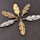 50Pcs Tibetan Silver Feather Leaves Charms Pensants 28x8MM Z3077 image