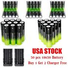 100pcs 3.7V Rechargeable 18650 Li-ion Battery&Charger For Flashlight USA