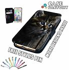 Beautiful Blue Eye Kitten Cat Tabby Hair - Leather Flip Wallet Phone Case Cover