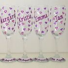 Personalised Hen Party Accessories Glitter Hearts Champagne Flute Prosecco Glass