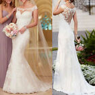 Stock White Ivory Mermaid lace Wedding dress Bridal Gown Size
