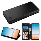 For LG Fiesta X Power 2 X Charge Leather Flip Wallet Case Protective Cover BLACK