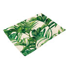 Cotton Linen Insulation Bowl Placemats Dining Pad Kitchen Table Mat Green Leaves