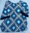 M L XL Allison Brittany Blue Jersey Crochet Bell Sleeve Dress Tunic Off Should