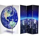 Handmade Double-sided 6-foot Earth Canvas Room Divider (China) New