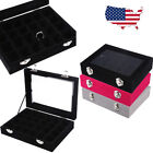 12/24 Grid Velvet Jewelry Ring Earrings Display Box Tray Organizer Storage Case