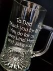 Personalised Engraved Tankard Beer Glass Usher Best Man Father Gift