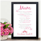 Mother of the Bride Wedding Gift - Personalised Poem Verse Gift for Mum Mam