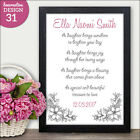 Personalised Poem Gift for Daughter - Personalised Daughter Birth Gift for Girl