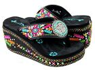 Montana West Flip Flops Western Embroidered Platform High Wedge Sandals