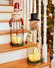 Triple LED Candle Holiday Lantern Santa or Snowman Lighted Christmas Home Decor