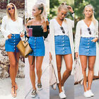 Fashion Women Button Denim Skirt High Waist Bodycon Slim Pencil Short Mini Skirt