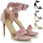 Womens Ladies Ruffle Party Prom Frill Suede Stiletto Peep Toe High Court Heels