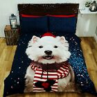 Rapport Multi Westie Highland Terrier Dog Photographic Christmas Duvet Set S/D/K