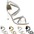Womens Cross Strap Dress Ankle Strap Evening Party Stiletto Low Mid Heels UK 3-9