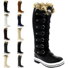 Womens Fur Cuff Lace Up Rubber Sole Knee High Winter Snow Rain Shoe Boots 3-10