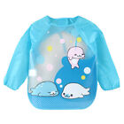 Baby Kid Feeding Bibs With Long Sleeve Plastic Feeding Smock Apron Cartoon Print