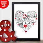 Personalised Word Art HEART Wedding Present For Mr & Mrs Bride And Groom Gift