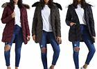 New Womens Long Fur Hood Zig Zag Quilted Puffer Padded Premium Parka Jacket Coat