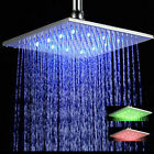 LED Colorful Chrome Brass Rainfall Bathroom Square Shower Head Ceiling Mounted