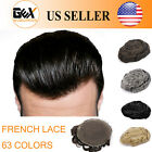 GEX Toupee Mens Hairpiece Wig FRENCH LACE Remy Hair Replacement Basement System