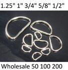 Lot 100 500 Dee Rings for Webbing D Ring Buckles 1/2 5/8 3/4 1 1.25