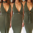 Women Deep V Sexy Sleeveless Halter Bowknot  Pencil Bodycon Cocktail Party Dress