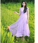 Women's fashion Banquet Bridesmaid organza embroidery Maxi dress KREDT55567#