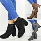 Womens Ladies Ankle Boots Chelsea Bow Block Heels Comfy Casual Winter Shoes Size