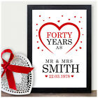 40th Wedding Anniversary Gift Ruby Forty Years Personalised Print Present Gift