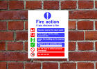 Fire Action HSE sign Health & Safety FA02 25cm x 30cm sign or sticker