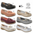 Womens Ladies Slip On Leather Tassel Girls Comfort Deck Loafers Moccasins Shoes