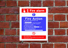 Fire Action / Alarm HSE sign Health & Safety FA16 25cm x 30cm sign or sticker