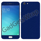 Oppo F3 Exclusive Dark Blue Carbon Skin Front Back