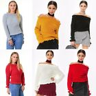 New Womens Ladies Knitted Round Neck Ruffle Frill Hem Jumper Long Sleeve Top