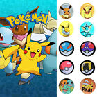 Pokemon Collectible Pins Button Pikachu Eevee Poke Ball Gym Badge + Hard Case