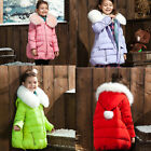 Kids Girls Quilted Padded Warm Coat puffer down long Jacket Fur Collar Outwear