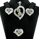 SUPERB 1.5mm PURPLE GREEN  CUBIC ZIRCON W-CZ 925 SOLID SILVER HEART SHAPE SET S3