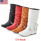 US Women's Shoes Black Leather Flat Heel Round Toe Knee High Slouch Boots Winter