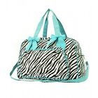 Personalized Black/White Zebra Print with Lime accents quilted Cosmetic Makeu...