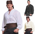 ADULT MENS PIRATE SHIRT COSTUME RENAISSANCE SWORDSMAN COLONIAL ZORRO MUSKETEERS